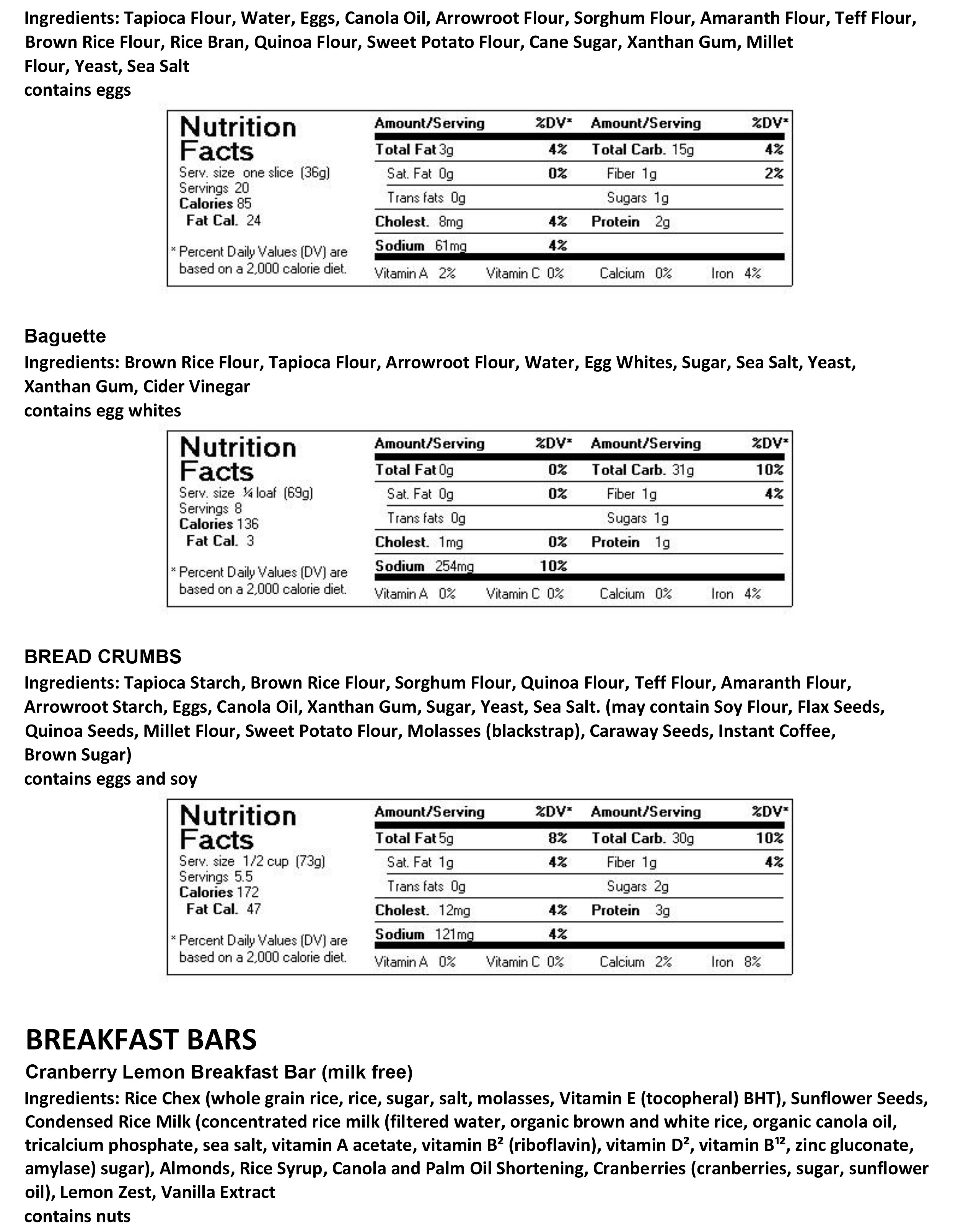 Bread/Breakfast Bars